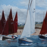 Shrimpers racing in the Camel Estuary   SOLD