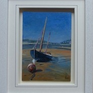 Blue Lugger on Porthilly Beach  SOLD