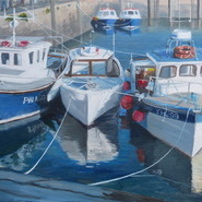 Blue & White Fishing Boats, Padstow  SOLD